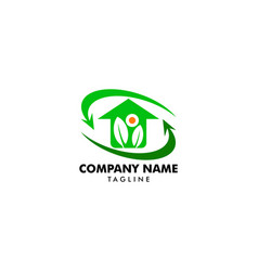 leaf and green house logo template vector image