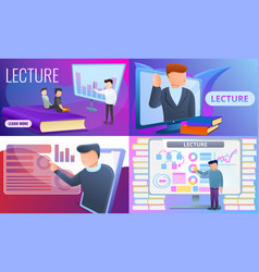 Lecture banner set cartoon style vector