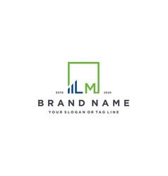 Letter lm square logo finance design vector