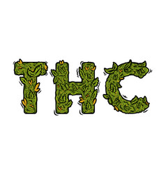 Lettering design weed inscription thc vector