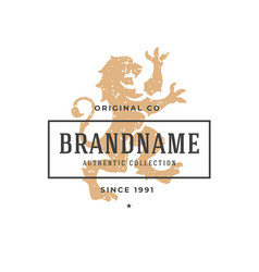 Lion hand drawn logo isolated on white background vector