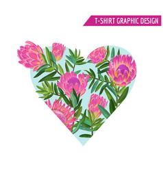 Love romantic floral heart spring summer design vector