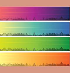 Madurai multiple color gradient skyline banner vector