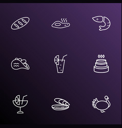 meal icons line style set with oyster omelette vector image