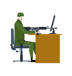Military at work office soldier war warrior is vector