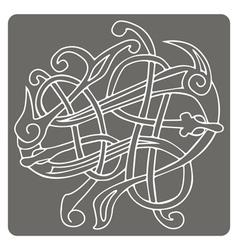Monochrome icon with Celtic art vector