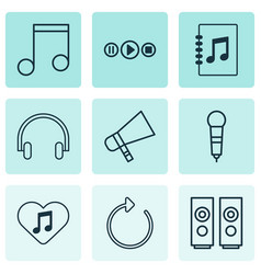 Multimedia icons set with mike favorite tune vector