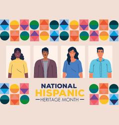 National hispanic heritage month with multiethnic vector