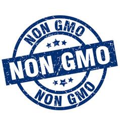 non gmo blue round grunge stamp vector image
