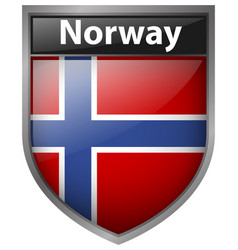 norway flag on badge design vector image