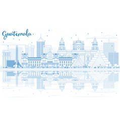 outline guatemala skyline with blue buildings and vector image