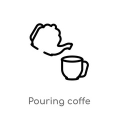 Outline pouring coffe icon isolated black simple vector