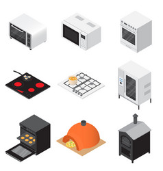 oven stove fireplace icons set isometric style vector image