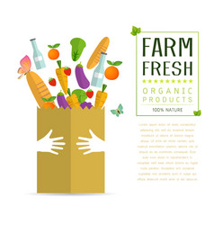 paper package with fresh healthy produce vector image