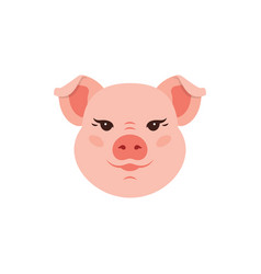 Pig icon cute piggy logo funny pink head pig vector
