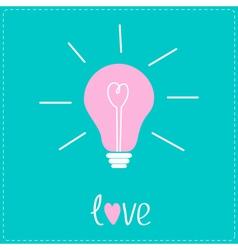 Pink bulb with heart inside Idea concept Love card vector