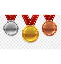 realistic medal set gold bronze and silver medals vector image