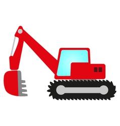 Red excavator vector