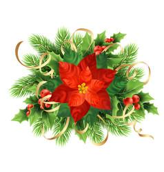 red poinsettia flower christmas vector image