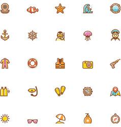 Sea vacations icon set vector image