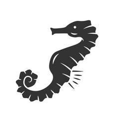 seahorse glyph icon exotic marine fish aquatic vector image