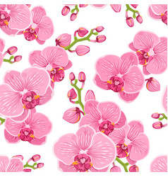 Seamless floral pattern with bright pink purple vector