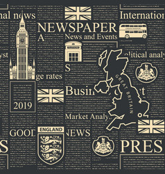 Seamless pattern with black london newspaper vector