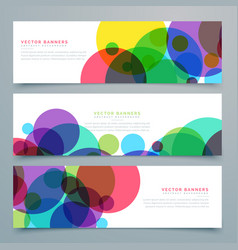 Set of banners with abstract colorful circles vector