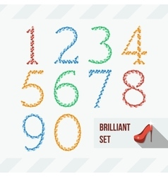 Set of numbers of shoes and gems vector image
