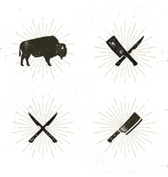 Set of steak house butcher house and meat tools vector