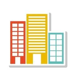silhouette colorful with buildings without trees vector image