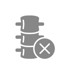 Spine with cross checkmark grey icon spinal canal vector