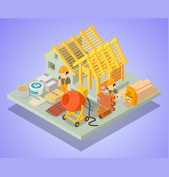 Structural repair concept banner isometric style vector