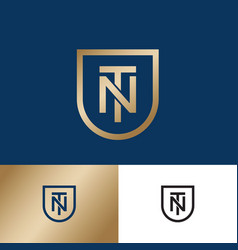 T and n monogram gold shield premium emblem vector