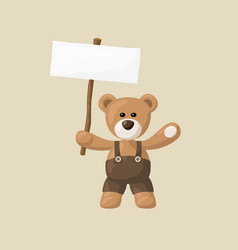 Teddy bear with white signboard vector