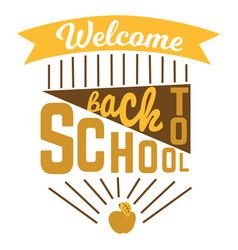 welcome back to school logo sign with ribbon vector image