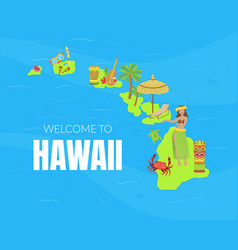 welcome to hawaii banner template hawaiian vector image