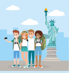 Women and men with smartphone in the statue of vector