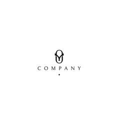 y and o classic black logo design vector image