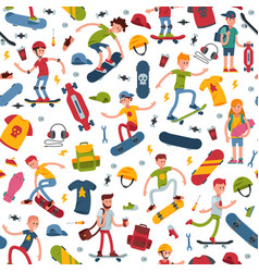 Young skateboarder active people sport vector