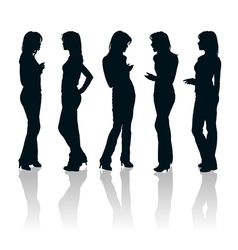 Young women gesturing silhouettes vector