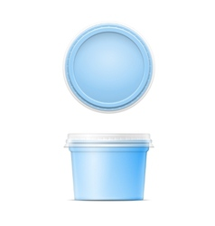 Blue plastic spread container template vector image vector image