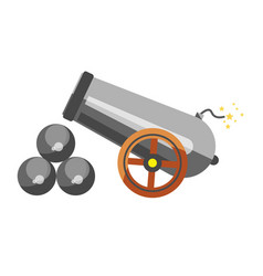 cannon placed near balls vector image
