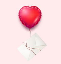 envelope heart balloon valentine day card vector image