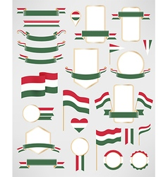 Hungary flag decoration elements vector image
