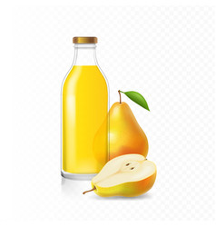 ripe pears juice in glass bottle vector image vector image