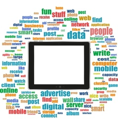 tablet pc in social media words computer networks vector image