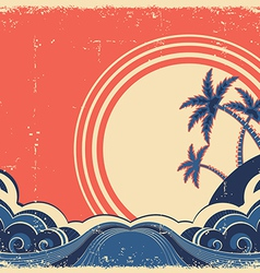 Tropical island with palms grunge seascape poster vector