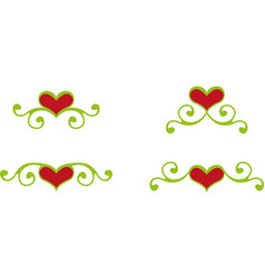 floral heart elements vector image