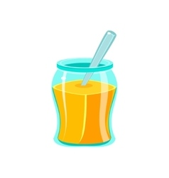 Glass jar filled with honey with spoon natural vector